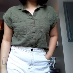 Cotton On green button crop top